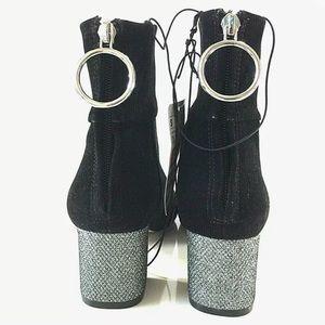 Black Suede Booties with Glitter Heels